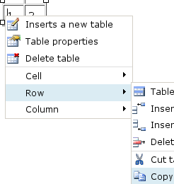 right-click table rows to copy & paste